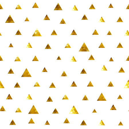 distributed: Seamless polka dot golden random distributed triangles pattern. Mosaic faceted texture background.