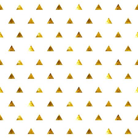 Polka dot senza soluzione di continuità d'oro modello di triangoli. Mosaico texture di sfondo sfaccettato.