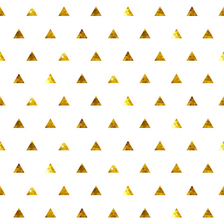 Seamless polka dot golden triangles pattern. Mosaic faceted texture background.