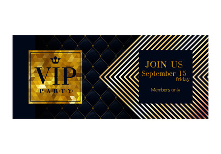 members: VIP party premium invitation card poster flyer. Black and golden design template. Quilted pattern decorative background. Mosaic faceted letters. Illustration