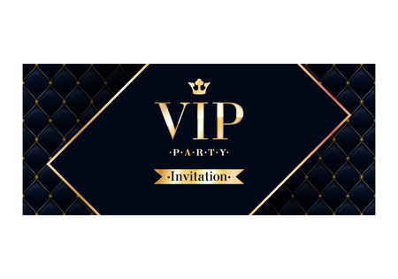 VIP party premium invitation card poster flyer. Black and golden design template. Quilted pattern decorative background with rotated card.
