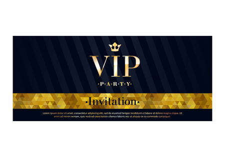 VIP party premium invitation card poster flyer. Black and golden design template. Mosaic faceted pattern and diagonal stripes decorative background. Illustration