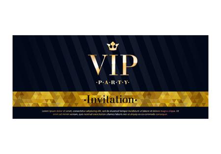 VIP party premium uitnodigingskaart poster flyer. Zwart en gouden ontwerp sjabloon. Mozaïek faceted patroon en de diagonale strepen decoratieve achtergrond. Stockfoto - 51946306