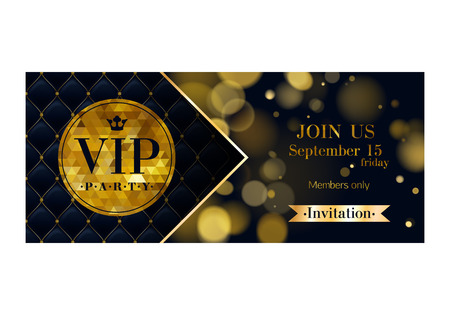 quilted: VIP party premium invitation card poster flyer. Black and golden design template. Glow bokeh and quilted pattern decorative background. Mosaic faceted letters.