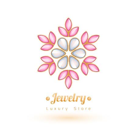 Elegante edelstenen vector sieraden decoratie. Etnische bloemen vignetten. Goed voor sieraden store design logo. Logo