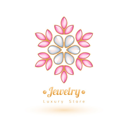 Elegant gemstones vector jewelry decoration. Ethnic floral vignettes. Good for fashion jewelry store design logo.