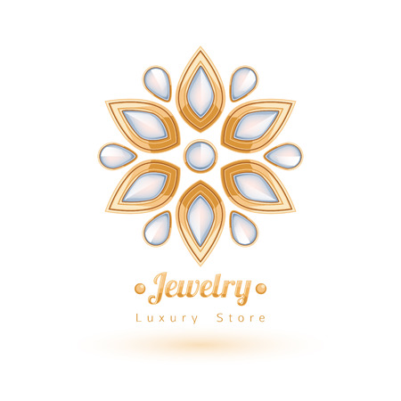 jewels: Elegant gemstones vector jewelry decoration. Ethnic floral vignettes. Good for fashion jewelry store design logo.