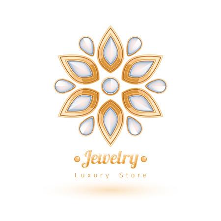 gemstones: Elegant gemstones vector jewelry decoration. Ethnic floral vignettes. Good for fashion jewelry store design logo.