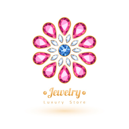 jewelry: Elegant gemstones vector jewelry decoration. Ethnic floral vignettes. Good for fashion jewelry store design logo.