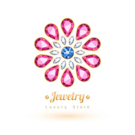 Elegant gemstones vector jewelry decoration. Ethnic floral vignettes. Good for fashion jewelry store design logo. Logo