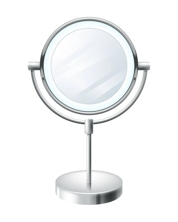 circle objects: Realistic blank round make up mirror vector illustration. Beauty fashion symbol. Illustration