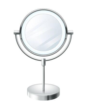 round style: Realistic blank round make up mirror vector illustration. Beauty fashion symbol. Illustration