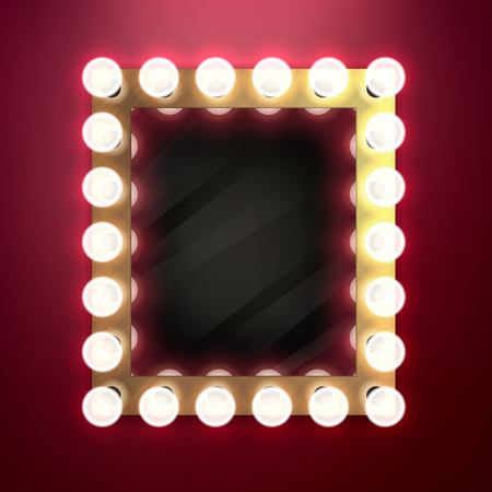 on mirrors: Realistic retro vintage make up mirror with light bulbs vector illustration. Beauty backstage design concept.