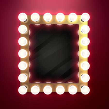 Vintage retro realista compone el espejo con la ilustración vectorial bombillas de luz. Belleza concepto de diseño detrás del escenario.