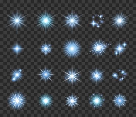 Stars and sparkles set vector illustration on transparent background. Light effects burst sparks glow collection. Illustration