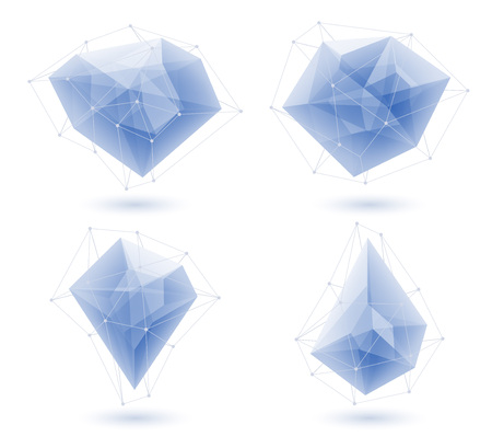 ice crystal: Blue abstract glass ice gemstones crystals low poly design set. Vector illustration. Good for logo design.