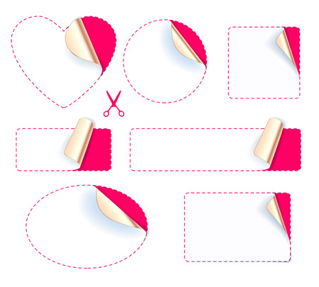 set design: Set of blank stickers - golden foil reverse side. Peeled off paper labels. Heart, circle, square, oval with dotted line and scissors icon.