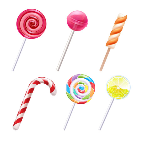 candies: Colorful sweets icons set - candy cane marshmallow spiral lollipop lemon vector illustration.
