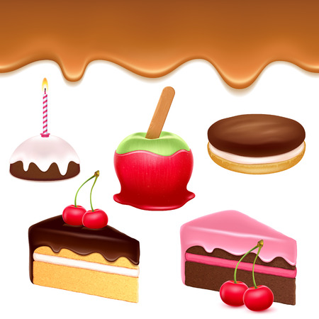 caramel candy: Colorful sweets icons set - caramel drip border apple cakes chocolate cookie vector illustration. Illustration