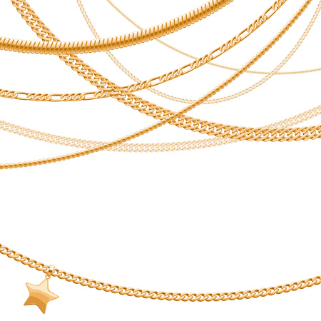 bracelet: Assorted golden chains on white background with star pendant. Good for cover card banner luxury design.
