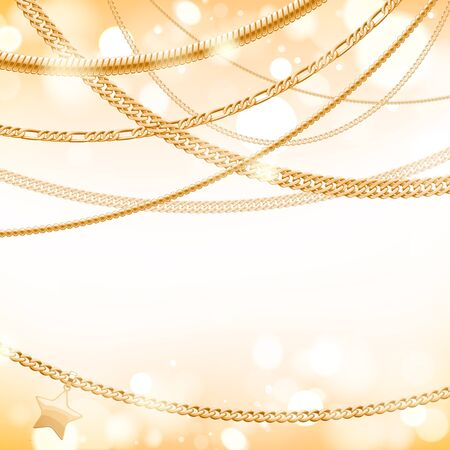 light chains: Assorted golden chains on light glow background with star pendant. Good for cover card banner luxury design.