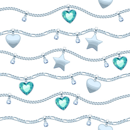 green gemstones: Silver chains white and green gemstones seamless pattern on white background. Illustration