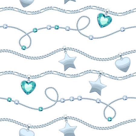 green gemstones: Silver chains white and green gemstones seamless pattern on white background. Star and heart pendants. Necklace or bracelet illustration. Good for cover card banner luxury design. Illustration
