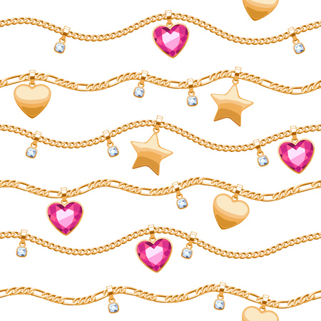 yellow heart: Golden chains white and pink gemstones seamless pattern on white background.