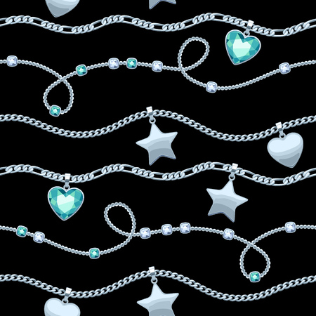 green gemstones: Silver chains white and green gemstones seamless pattern on black background.
