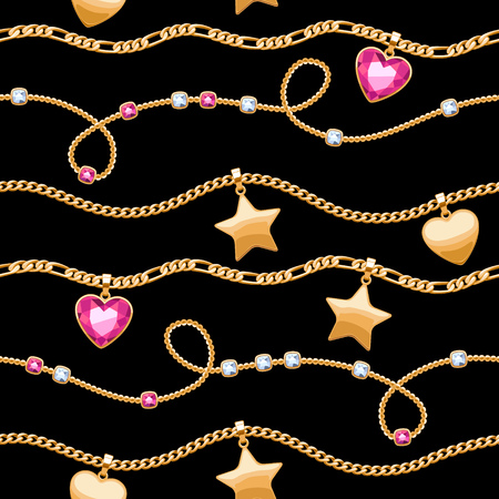 Golden chains white and pink gemstones seamless pattern on black background.