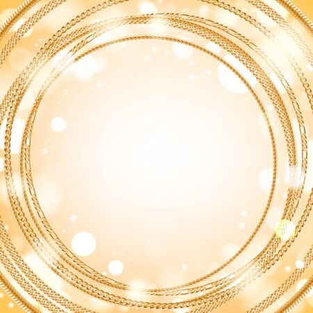light chains: Assorted golden chains on light glow round background. Good for cover card banner luxury design. Illustration