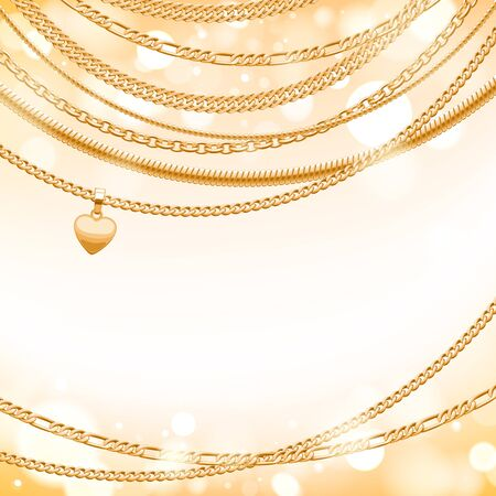 light chains: Assorted golden chains on light glow background with heart pendant. Good for cover card banner luxury design.