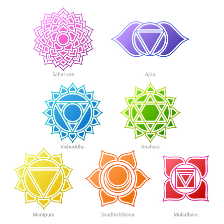 sahasrara: Colorful chakras symbols icons set. Spiritual meditation elements vector illustration.
