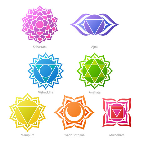 sanskrit: Colorful chakras symbols icons set. Illustration