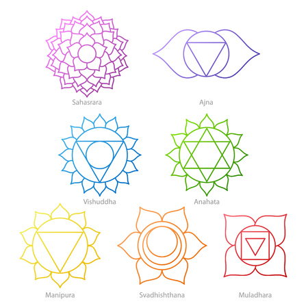 ajna: Colorful chakras symbols icons set. Spiritual meditation elements vector illustration.