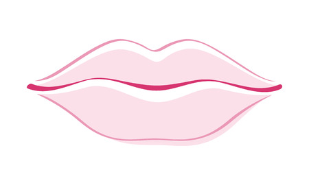 Beautiful girls lips simple style outline vector illustration. Woman face part icon. Good for make-up cosmetic related design. Çizim