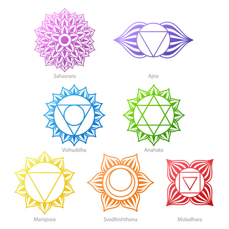 muladhara: Colorful chakras symbols icons set. Illustration