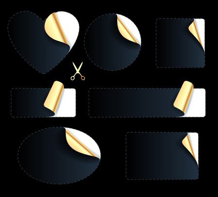 peeled off: Set of blank black stickers - golden foil reverse side. Peeled off paper labels. Heart, circle, square, oval with dotted line and scissors icon. Luxury premium design.