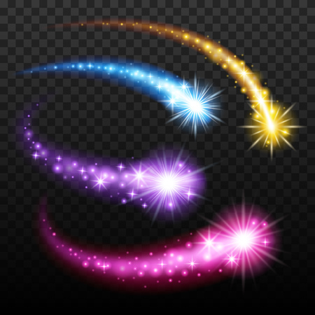 Efecto de luz de colores que caen meteoritos cometas establece la ilustración vectorial en el fondo transparente. Burst chispas brillan colección. Ilustración de vector