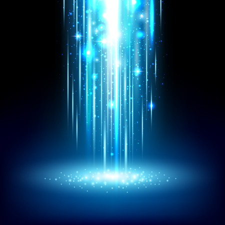 Magic light effect shiny sparkles falling abstract background. Vector illustration. 矢量图像