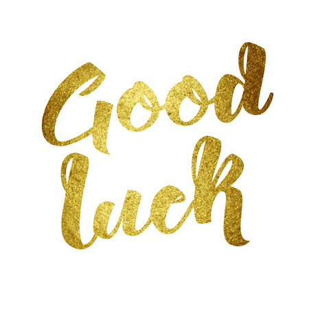 farewell: Good luck wish note hand written lettering greeting card concept. Brush strokes typography golden paint background. Handmade vector illustration.
