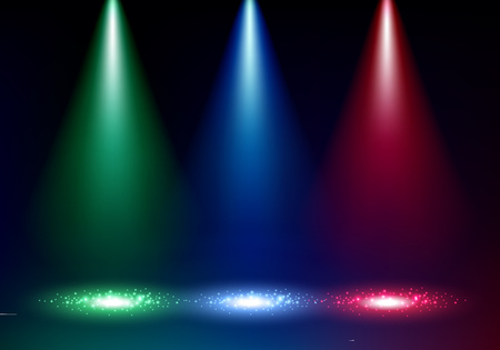 theater background: Colorful glow spotlights background with sparkles vector illustration. Blue green and red floodlight projector.