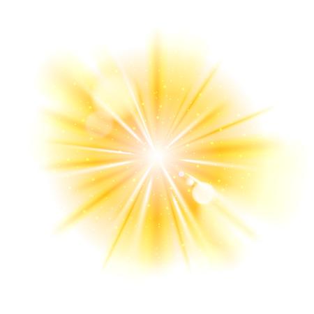 Gelbes Licht Sunburst Hintergrund. Vector star Burst mit funkelt Illustration. Vektorgrafik