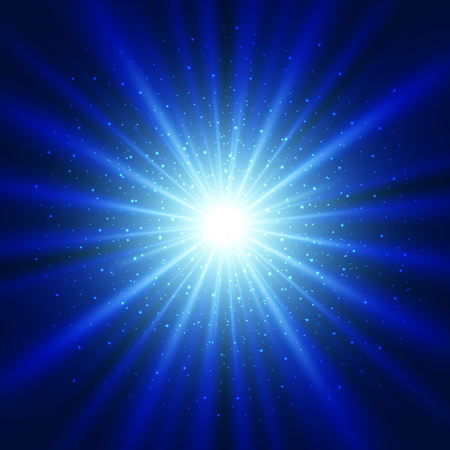 blue star background: Blue light sunburst background. Vector star burst with sparkles  illustration.