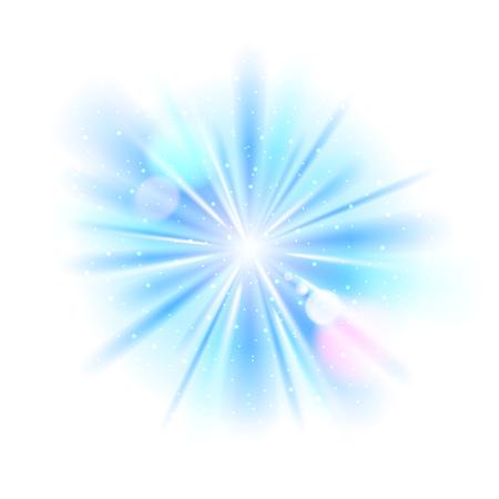 Blue light sunburst background. Vector star burst with sparkles  illustration.