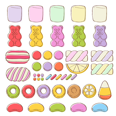 gummy: Set of different colorful sweets on white background - marshmallow gummy bears hard candies dragee jelly beans peppermint candy. Hand drawn sketch style vector illustration.