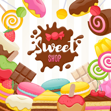 Assorted sweets colorful background with chocolate splash drop blot. Lollipops, cake, macarons, chocolate bar, candies and donut on shine background. Sweet shop.