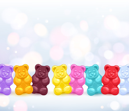 Colorful colorful gummy bears candies background. Sweets vector illustration.