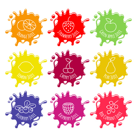Colorful juice or jam blots set.  Sweet smudges splashes drops on white background. Strawberry lemon apple blueberry cherry pear raspberry red currant orange flavores. Illustration