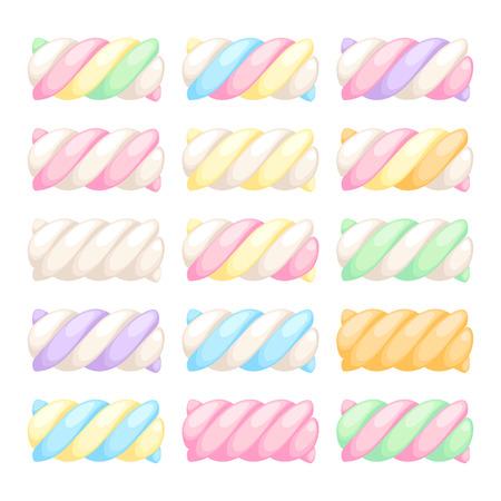 멜로의 왜곡은 벡터 일러스트 레이 션을 설정합니다. 파스텔 달콤한 쫄 깃 한 사탕 색깔.